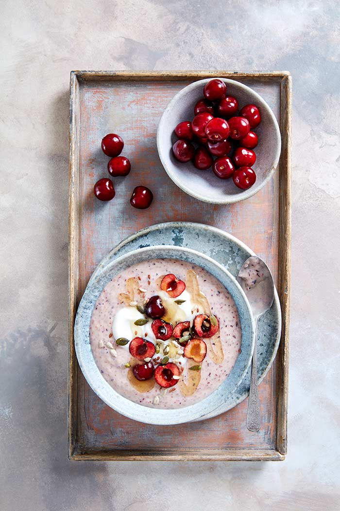 Cherry Smoothie bowl (Jerte Cherries), smoothie bol de cerezas