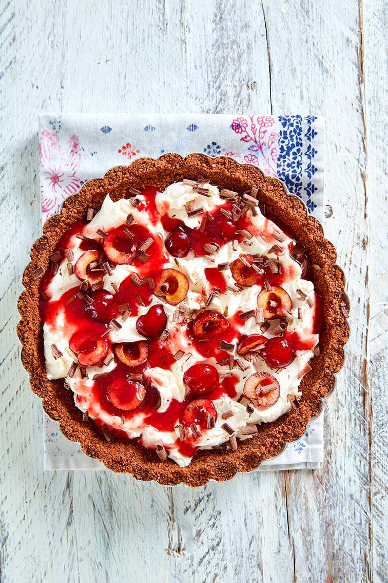 Chocolate cherry tart (Jerte cherries), cheesecake de picotas del jerte