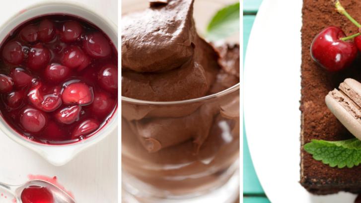 mousse de chocolate con cerezas