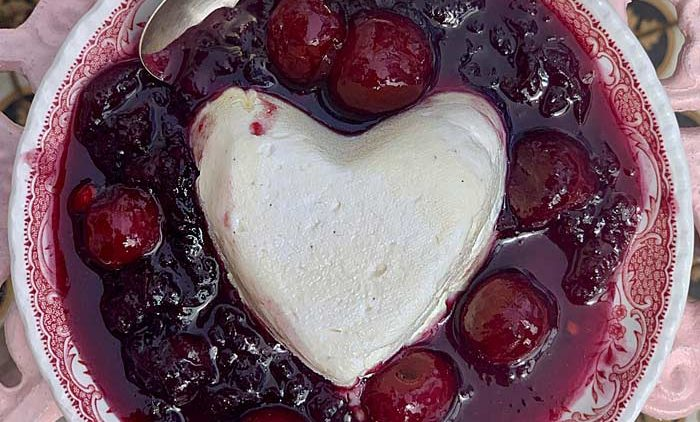 Cream Heart cherry compote