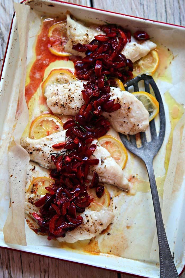 Spanish Picota Cherry Salsa with Baked White Fish